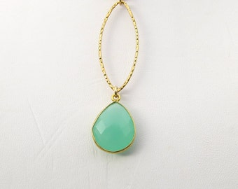 "Aqua Chalcedony Marquise 14K Gold Filled Necklace 18"" or 32"""