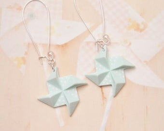 earrings origami windmill polymer clay