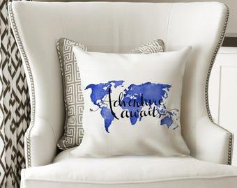 Travel Pillow Decorative Throw Pillows World Map Pillow - Travel Home Decor Pillow Art - Inspirational Quote Pillow Couch Pillows