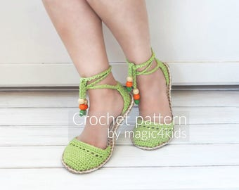Crochet pattern- sandals with rope soles,soles pattern included,shoes,slippers,sandals,scuffs,loafers,women,adult,girl,cord,twine,laces