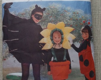 Children's Flowerpot, Ladybug and Bat Costumes  in Sizes S to XL Complete Uncut/FF Vintage 90s Butterick Sewing Pattern 4972