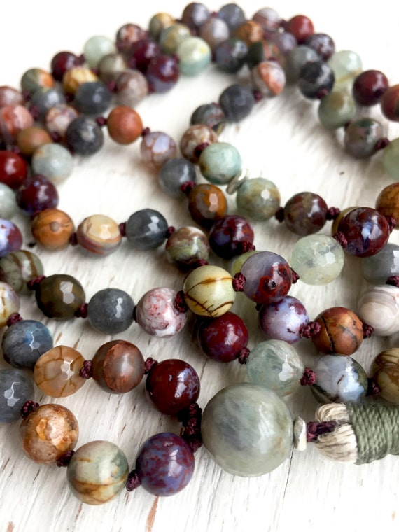 Root Chakra Mala Necklace, Red Lightning Agate Labradorite Red Creek Jasper Aquamarine 108 Mala Beads  Yoga Unisex Mala, Grounding Stability