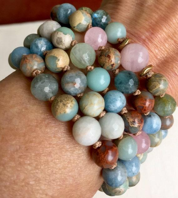 108 Bracelet Style Mala Beads African Opal Rose Quartz Aquamarine Moonstone Heart Chakra Throat Chakra Mala Necklace Yoga Inspired Jewelry