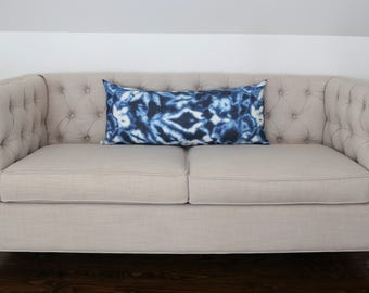READY TO SHIP - 14 x 33 Indigo Puddle designer pillow cover (sized for 14x36 insert)