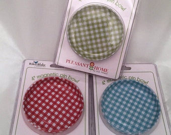 Pin Bowl - Sew Together Gingham Magnetic by Pleasant Home for Riley Blake