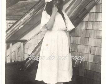 Vintage Snapshot Photo ~ the coy barn dance girl