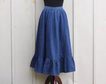 Long jean skirt | Etsy