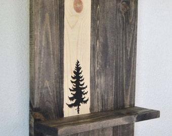 Rustic Wood Pine Tree Wall Shelf Key Holder Organizer