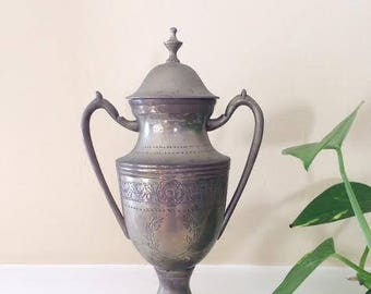 Silver Plated Vintage Vase // trophy, container, vessel, urn, etching, India, floral, flowers, patina