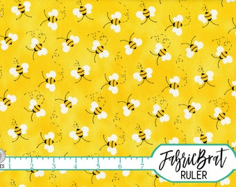 BUMBLE BEE Fabric by the Yard Fat Quarter Yellow Whimsical Bees Fabric Yellow Quilt Fabric Apparel Fabric 100% Cotton Fabric w8-31
