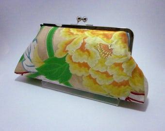 Yellow peony clutch/ Kimono bag/ Hand made/ Vintage obi bag/4