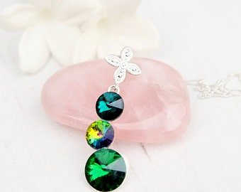 Emerald green Swarovski crystal pendant necklace Sterling Silver Swarovski jewellery Emerald green wedding bridesmaids necklace 3 Rivoli