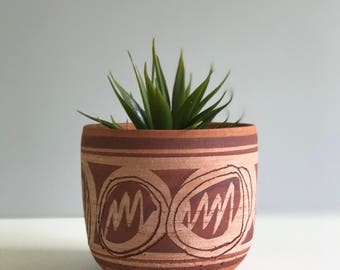 Vintage Terra Cotta Planter Signed / Outdoor Planter