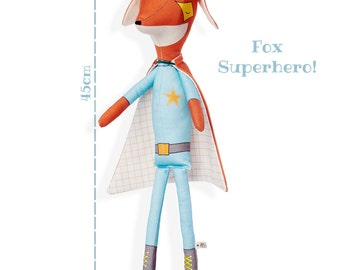 FOX SUPERHERO - Plushie Stuffed Toy - Fox Softie for Boy - Woodland Animal Doll
