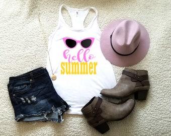 Hello summer graphic tank top for women in racerback ladies women tumblr instagram gift