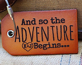 Luggage Tags, Wedding Shower Gift for Couple, Leather Identification Tags, Bag Tags,  And So The Adventure Begins, Quote, Baggage Tags,