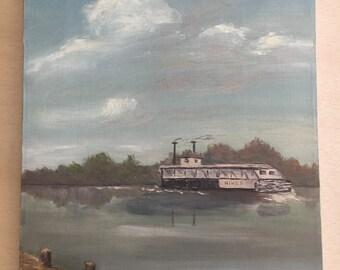 Vintage Riverboat Painting