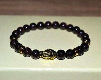 Garnet Buddha stretch bracelet. Meditation bracelet. Woman Burgundy bracelet. Mens Bracelet.