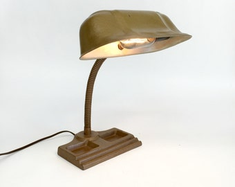 Antique Desk Lamp, Bankers Desk Lamp, Industrial Lamp, Gooseneck Desk Lamp, Task Lamp, Adjustable Desk Lamp, Mid Century Lamp