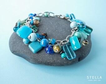 Blue cha cha bracelet, turquoise cluster bracelet, beach wedding jewelry, silver chunky chain, blue gift under 60, maid of honnor bracelet