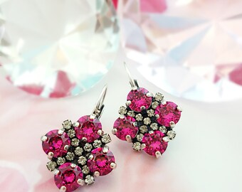 Hot Pink Crystal Earrings, Swarovski Fuchsia Earrings, Dark Pink Rhinestone Leverbacks, Pink Tourmaline Antiqued Silver Earrings, E3040