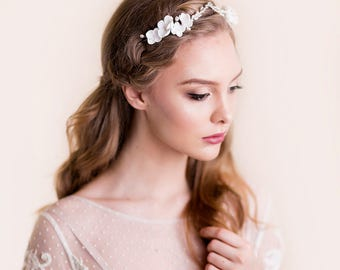 Bridal Flower Crown - Rhinestone Tiara - Wedding Head Piece Floral - Apple Blossom - Silver Hair Accessories