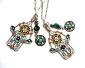 Boho Hamsa Necklace Colorful Hand Of Fatima Bohemian Jewelry FREE SHIPPING
