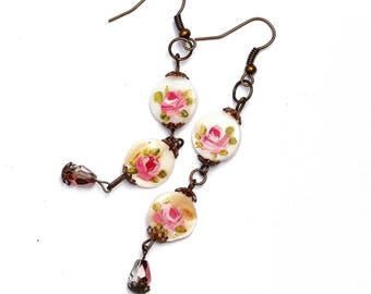 Romantic Pink Rose Earrings Mother of Pearl Victorian Dangle Earrings FREE SHIPPING
