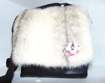 Recycled fur and leather bag
