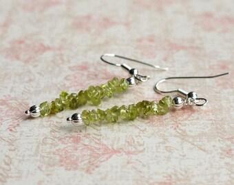 Peridot Earrings, Green Gemstone Earrings, Stack Earrings, August Birthstone Earrings, Natural Peridot Earrings, Peridot Chips Earrings