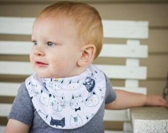 Baby bandana bib, unisex baby bib, bandana bib, cat baby bib, baby shower gift, baby bib, drool bib, scarf bib, baby girl gift, cat bib