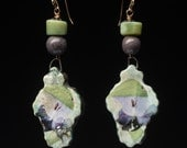 ON HOLD for SA through Friday, Feb 10:Spring Rain earrings, rustic jewelry in spring green and purple, artisan ceramics,semi-precious stones