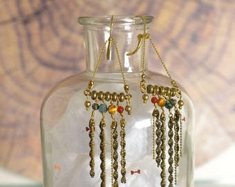 gemstones and brass fringe earrings