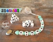 Custom PERSONALIZED Pacifier Clip - Silicone Teething Bite Beads Universal Soother Clip - Teether Chew Toy Beads - Shabby Chic
