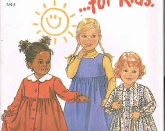 Size 1/2-4 Toddler Girls Dress Pattern - Empire Waist Mid Calf Length Dress Sewing Pattern - Sleeveless Girls Dress -  New Look 6660