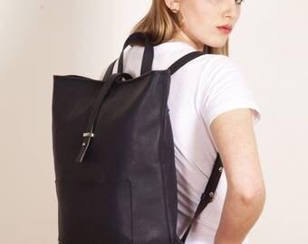 Blue Leather Backpack,Blue Leather Backpack,Minimal blue Backpack,zipper,backpack, SCARLETT