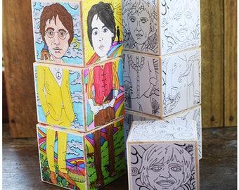 Color your Icons - Beatles blocks. DIY Wooden block puzzle. John Lennon, Paul McCartney, George Harrison, Ringo Starr