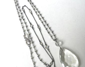 Long Pendant Necklace with Large Crystal, Wrap Necklace, Vintage and New Beads