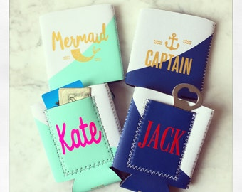 Personalized Mermaid & Captain insulated drink huggers with pocket