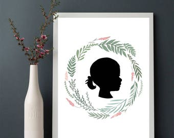 Custom Girl Wreath Silhouette Image // Customizable Nursery Silhouette // Nursery Custom Child Graphic Design Wreath