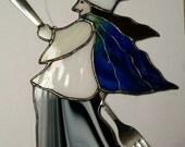 Kitchen Witch Chef Handmade Stained Glass Suncatcher