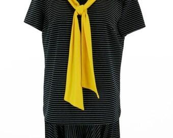 Vintage 1960s Black and White Stripe Eve Le Cog California Nautical Dress Size XL