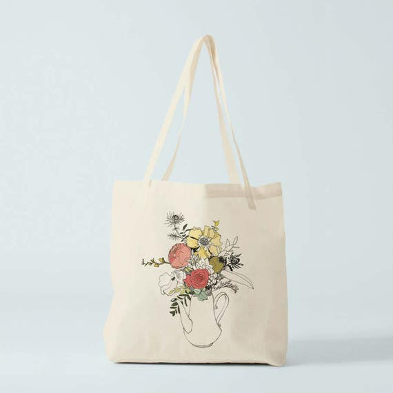 Tote Bag, Spring flowers, canvas bag, cotton tote, organic shopper, groceries bag, organic tote, birthday gift, congratulations gift.
