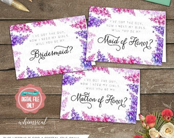"""Be My Bridesmaid Cards 3PC Set """"Lavender Border"""" (Printable File Only) Ask Bridesmaid, Be In My Wedding, Be In Our Wedding, Wedding Party"""