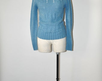 70s blue knit sweater / 1970s pointelle pullover / vintage cable knit jumper