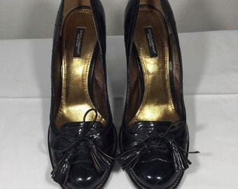 Dolce Gabbana, Black, Leather, Shoes, Heels, 39, 8, 8.5, Made in Italy