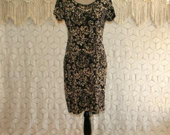 Knit Dress Brown India Print Short Sleeve Dress Midi Dress Small Medium Womens Dresses Scoop Neck Day Dress Womens Clothing