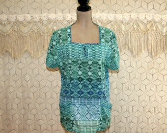 Loose Fit Tunic Hippie Top Peasant Blouse Large Casual Embroidered Womens Smock with Pockets Short Sleeve Blue Green Womens Clothing