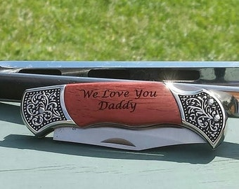 Engraved Pocket Knife -- Perfect for Groomsmen, Father's Day, Birthdays, Hunting, etc.; Personalized Folding Knife