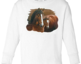 Toddler / Kids Equestrian Shirt - Long Sleeve T-Shirt with Bay Mare and Foal - Spring Horse Clothing for Children